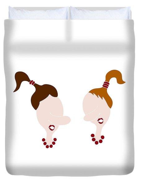 Nosy Girls Duvet Cover by Frank Tschakert