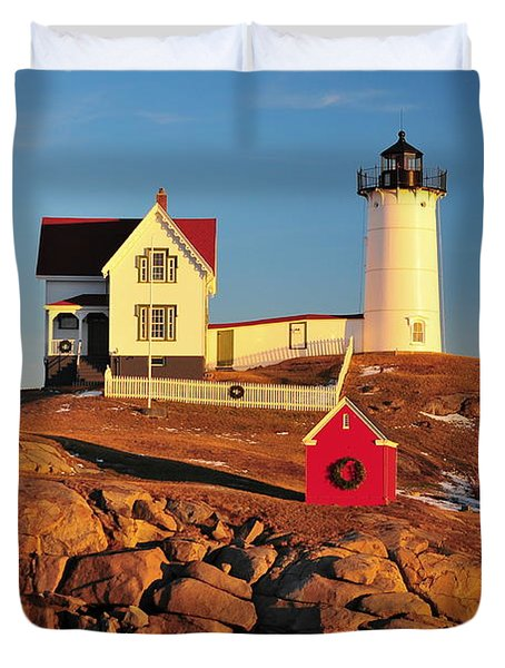 Nubble Light Sunset Duvet Cover by Catherine Reusch  Daley