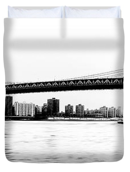 Nyc - Manhattan Bridge Duvet Cover by Hannes Cmarits