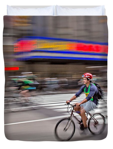 Nyc Bike Tour Duvet Cover by Susan Candelario