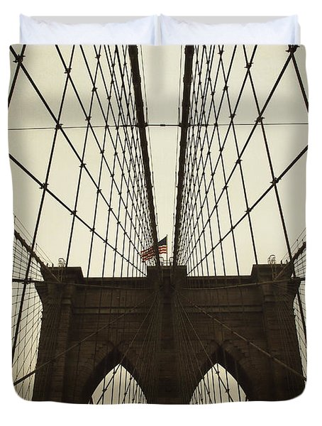 Nyc- Brooklyn Brige Duvet Cover by Hannes Cmarits