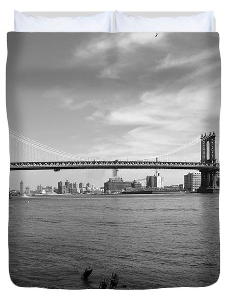 NYC Manhattan Bridge Duvet Cover by Mike McGlothlen