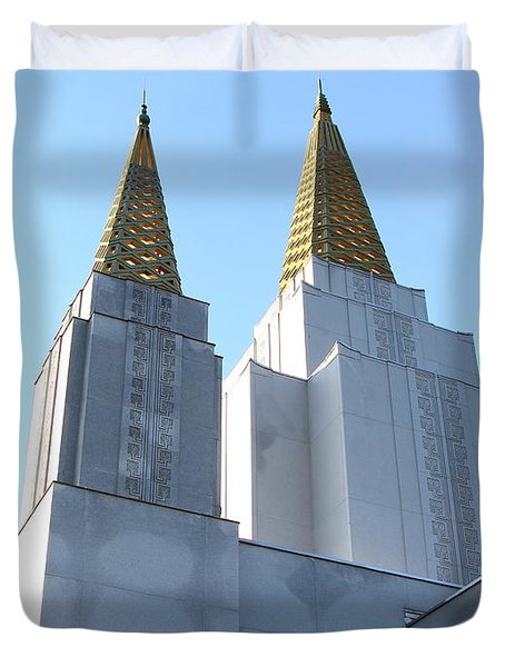 Oakland California Temple . The Church of Jesus Christ of Latter-Day Saints . 7D11360 Duvet Cover by Wingsdomain Art and Photography