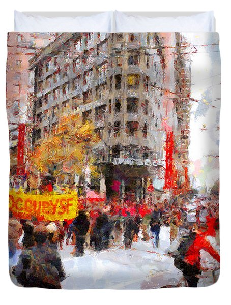 Occupy Sf Market Street . 7d9733 Duvet Cover by Wingsdomain Art and Photography