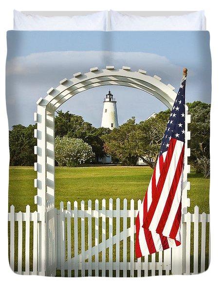 Ocracoke Lighthouse July 4th Duvet Cover by Bill Swindaman