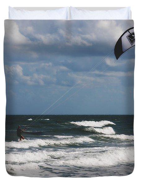 October Beach Kite Surfer Duvet Cover by Susanne Van Hulst
