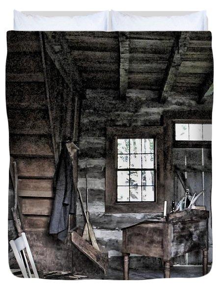 Ohio Cabin Duvet Cover by Joan  Minchak