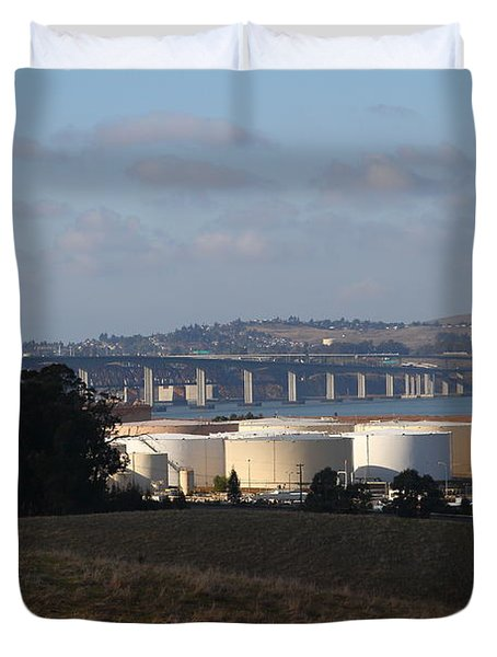 Oil Refinery Industrial Plant And Martinez Benicia Bridge In Martinez California . 7d10388 Duvet Cover by Wingsdomain Art and Photography