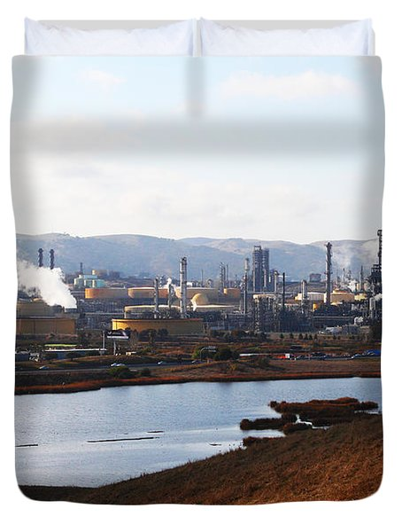 Oil Refinery Industrial Plant In Martinez California . 7d10393 Duvet Cover by Wingsdomain Art and Photography
