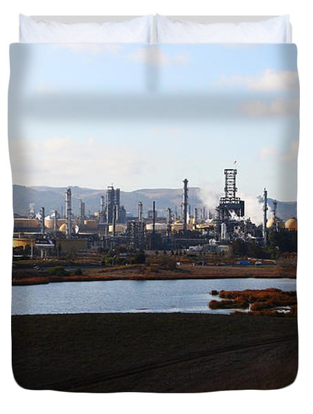 Oil Refinery Industrial Plant In Martinez California . 7d10398 Duvet Cover by Wingsdomain Art and Photography