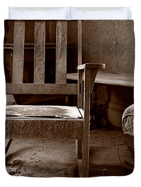 Old Chair Bodie California Duvet Cover by Steve Gadomski
