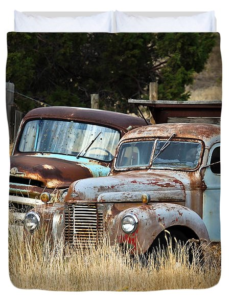 Old Farm Trucks Duvet Cover by Steve McKinzie