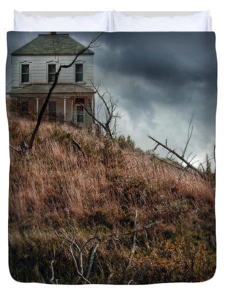 Old Farmhouse With Stormy Sky Duvet Cover by Jill Battaglia