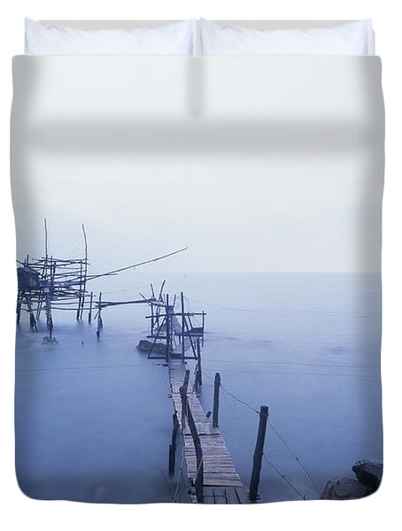 Old Fishing Platform At Dusk Duvet Cover by Axiom Photographic