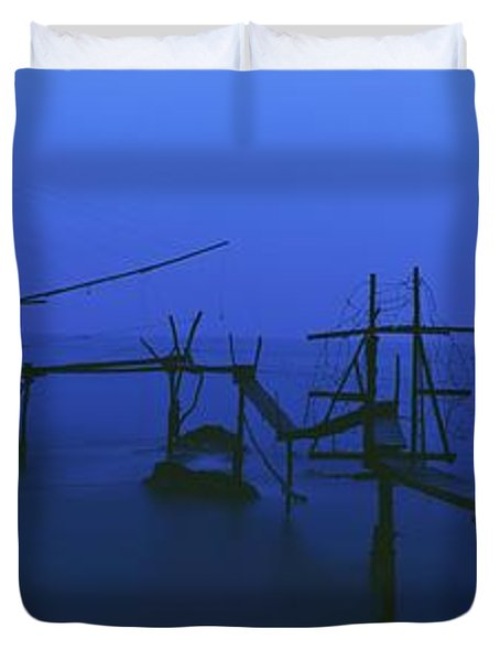 Old Fishing Platform Over Water At Dusk Duvet Cover by Axiom Photographic