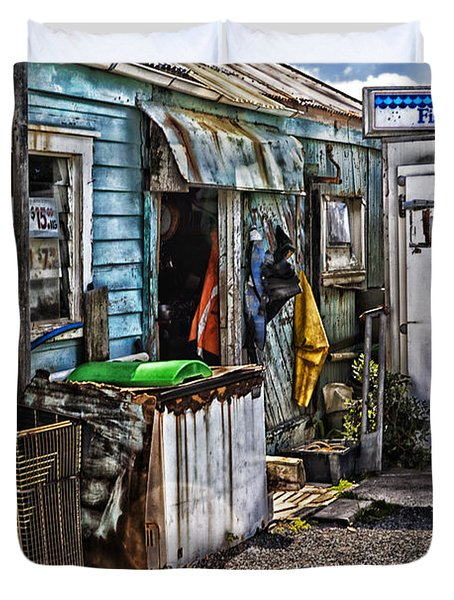 Old Fishing Store At Rawehe Duvet Cover by Avalon Fine Art Photography