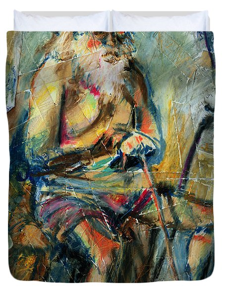 Old Man In The Chair Duvet Cover by David Finley