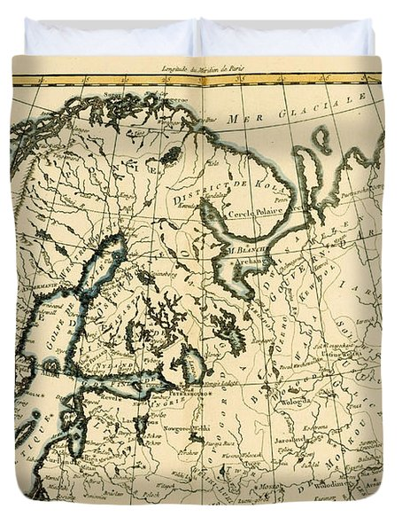 Old Map Of Northern Europe Duvet Cover by Guillaume Raynal