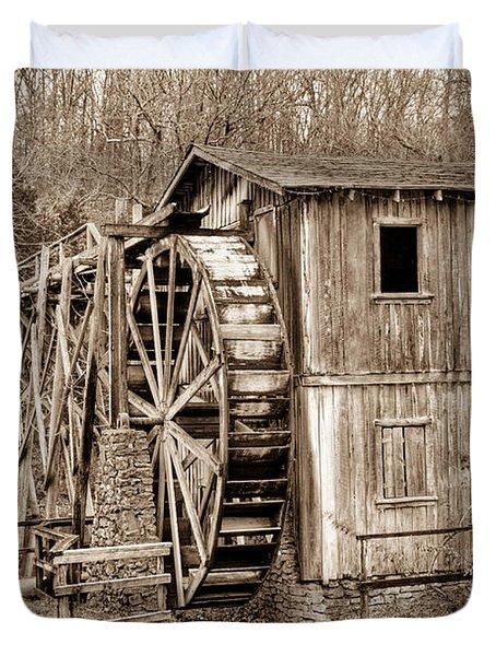Old Mill In Sepia Duvet Cover by Douglas Barnett