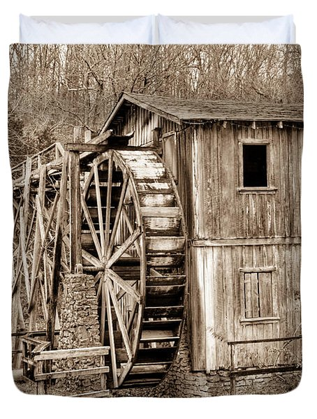 Old Mill in Sepia Duvet Cover by Douglas Barnett