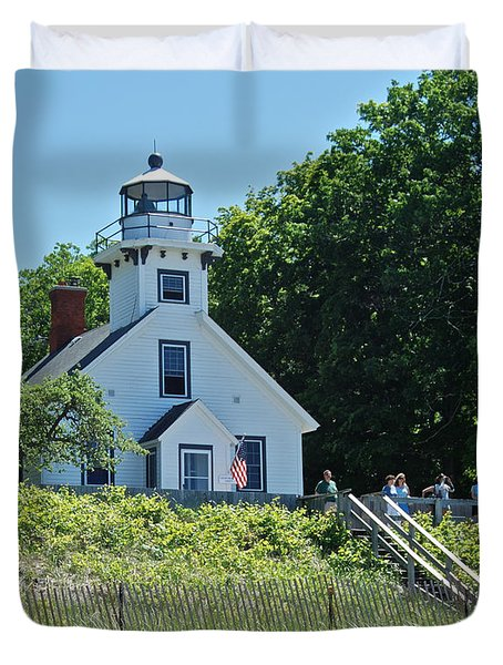 Old Mission Point Lighthouse 5306 Duvet Cover by Michael Peychich