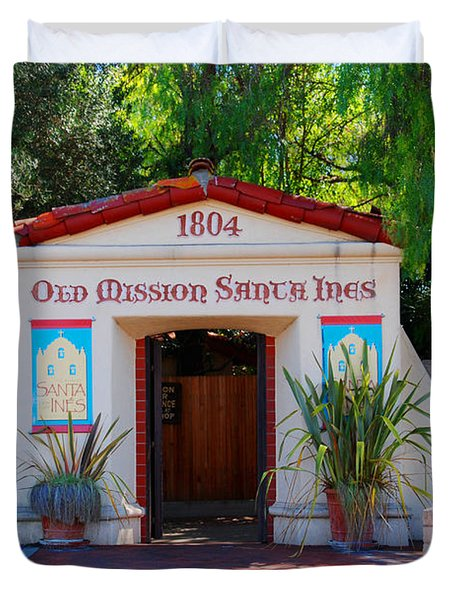 Old Mission Santa Ines Solvang California Duvet Cover by Susanne Van Hulst