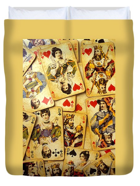 Old Playing Cards Duvet Cover by Garry Gay