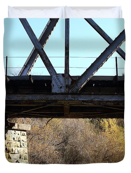 Old Railroad Bridge At Union City Limits Near Historic Niles District In California . 7d10743 Duvet Cover by Wingsdomain Art and Photography