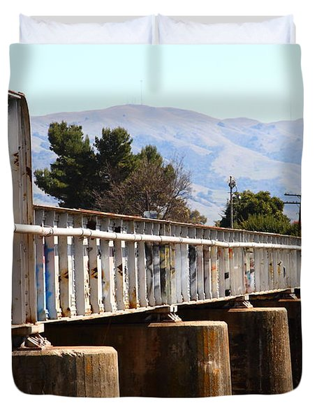 Old Railroad Bridge In Fremont California Near Historic Niles District In California . 7d12669 Duvet Cover by Wingsdomain Art and Photography