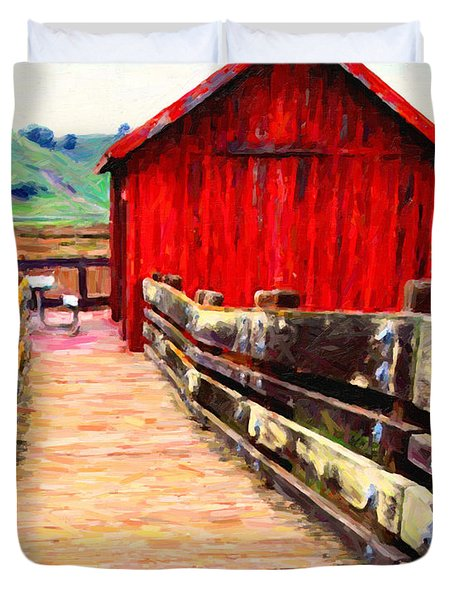 Old Red Shack Duvet Cover by Wingsdomain Art and Photography