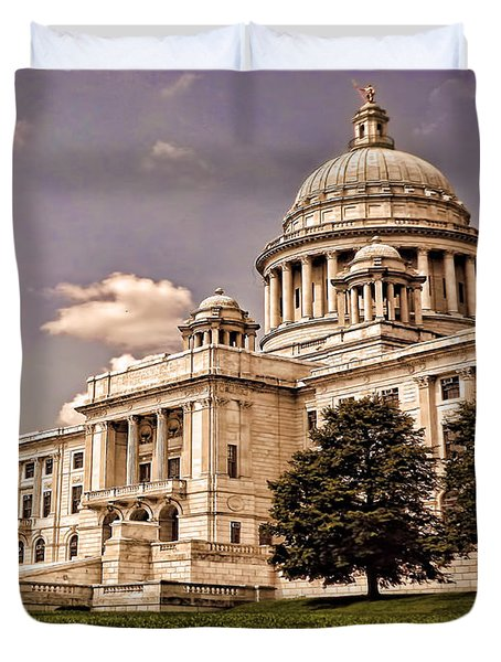 Old Rhode Island State House Duvet Cover by Lourry Legarde