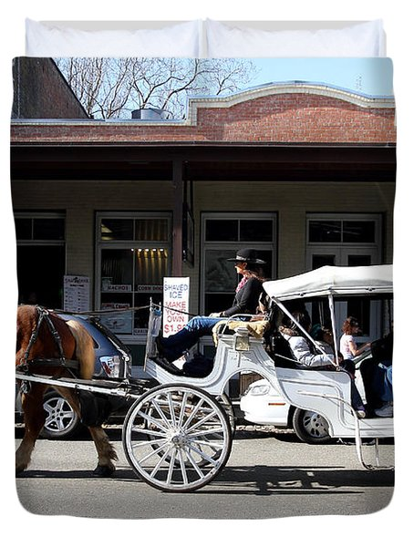 Old Sacramento California . Horse Drawn Buggy . 7D11482 Duvet Cover by Wingsdomain Art and Photography
