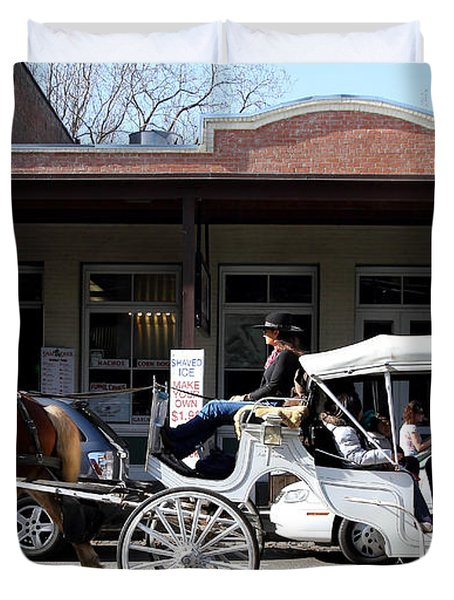 Old Sacramento California . Horse Drawn Buggy . Long Cut . 7D11482 Duvet Cover by Wingsdomain Art and Photography