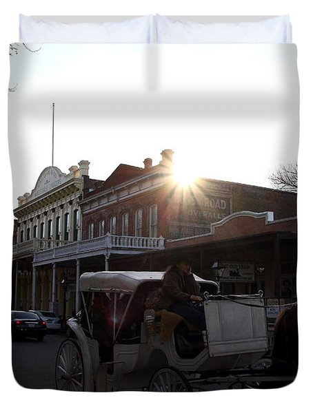 Old Sacramento California In Partial Silhouette . 7D11719 Duvet Cover by Wingsdomain Art and Photography