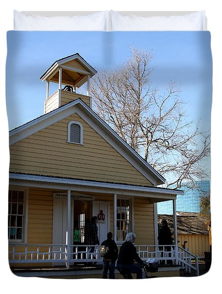 Old Sacramento California . Schoolhouse Museum . 7D11578 Duvet Cover by Wingsdomain Art and Photography