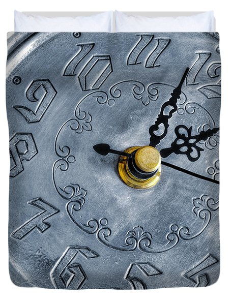Old Silver Clock Duvet Cover by Carlos Caetano