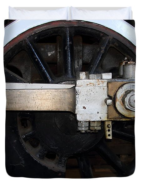 Old Steam Locomotive Engine 5 . The Little Buttercup . Train Wheel . 7d12916 Duvet Cover by Wingsdomain Art and Photography