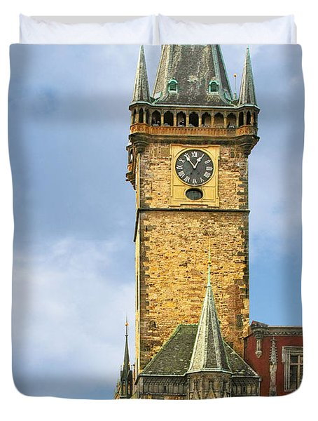 Old Town Hall Prague CZ Duvet Cover by Christine Till