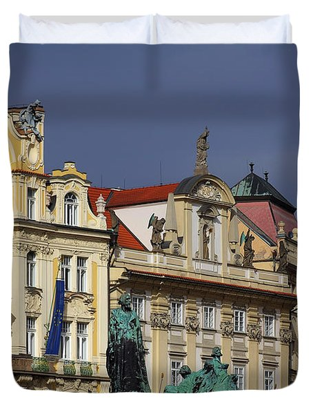 Old Town Square In Prague Duvet Cover by Christine Till