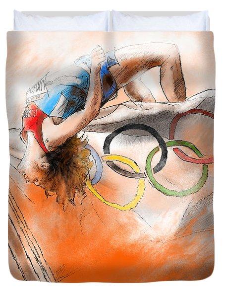 Olympics High Jump Gold Medal Ivan Ukhov Duvet Cover by Miki De Goodaboom
