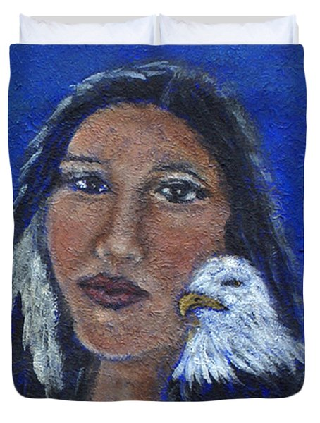 Onawa Native American Woman Of Wisdom Duvet Cover by The Art With A Heart By Charlotte Phillips