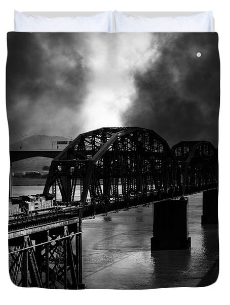 Once Upon A Time In The Story Book Town Of Benicia California - 5d18849 - Black And White Duvet Cover by Wingsdomain Art and Photography