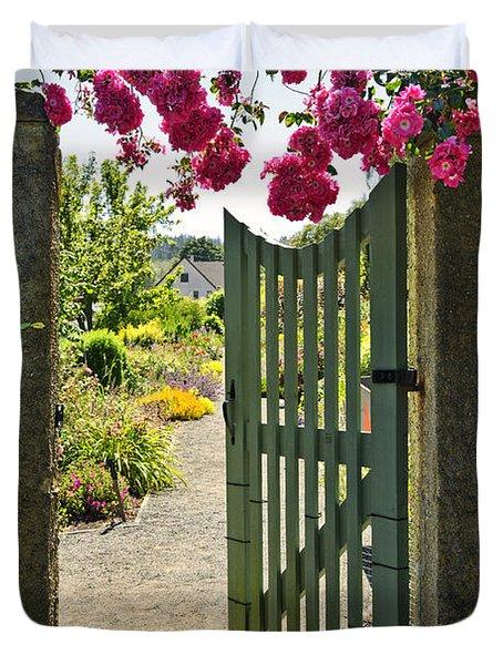 Open garden gate with roses Duvet Cover by Elena Elisseeva