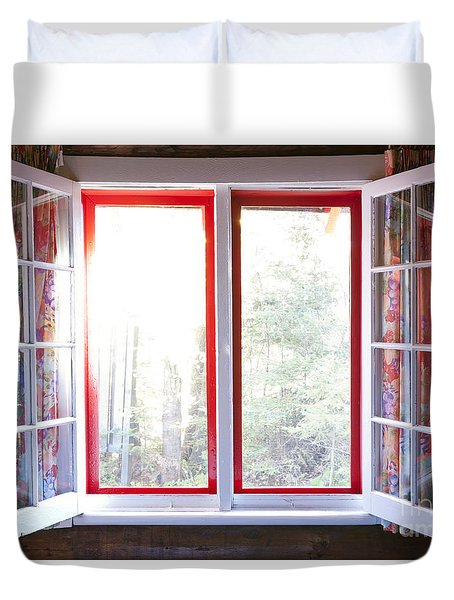 Open Window In Cottage Duvet Cover by Elena Elisseeva