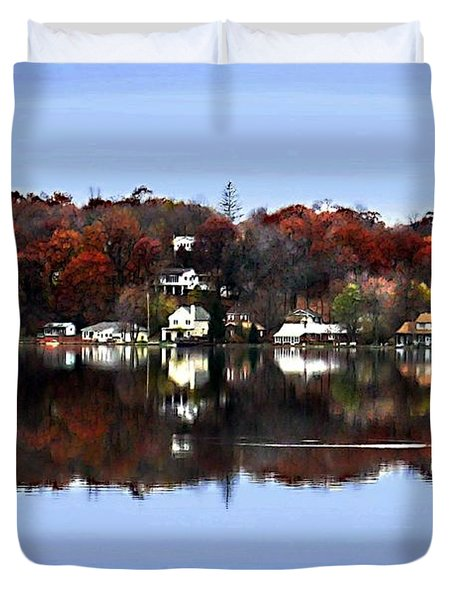 Orange Lake Duvet Cover by Dale   Ford