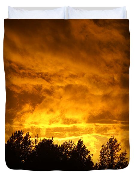 Orange Stormy Skies Duvet Cover by Randy Harris
