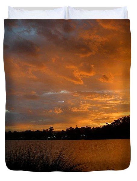Orange Sunset Glow Duvet Cover by Kaye Menner