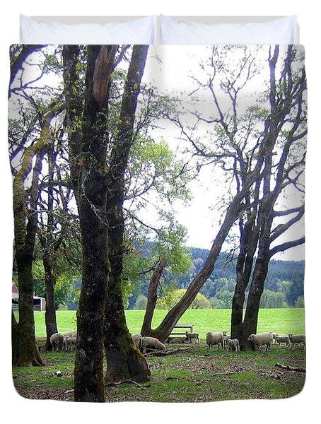 Oregon Sheep Farm Duvet Cover by Will Borden