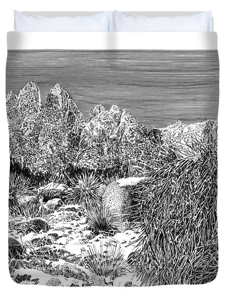 Organ Mountain Wintertime Duvet Cover by Jack Pumphrey