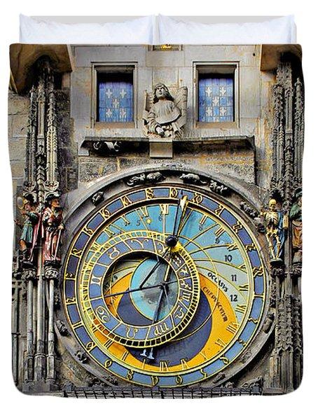 ORLOJ - Prague Astronomical Clock Duvet Cover by Christine Till